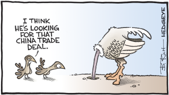 11.07.2019 China trade deal ostrich caroon